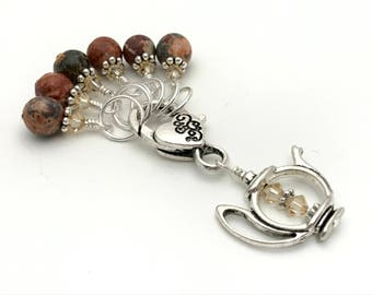 Knitting Stitch Markers with Teapot Holder in Earth tones- SNAG FREE Gift for Knitters