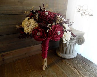 Ready to Ship ~ Medium Burgundy and Ivory Sola Flower Bridal Bouquet with Gold Metal Rhinestones