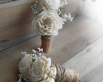 Ships in 5 days  ~~~ Rustic Wine Cork Boutonniere with Sola Flowers