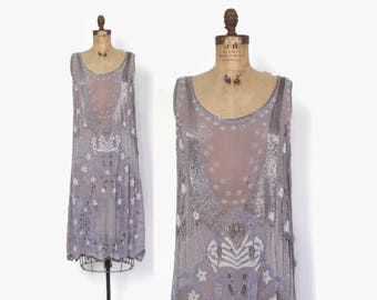 Vintage 20s BEADED Dress / Sheer 1920s Heavily Beaded Blue Flapper Dress with Headband S - M
