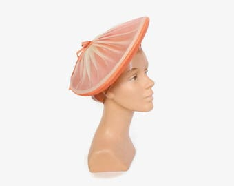Vintage 50s Melon Creme HAT / 1950s Orange Creamsicle Chiffon & Woven Straw Hat