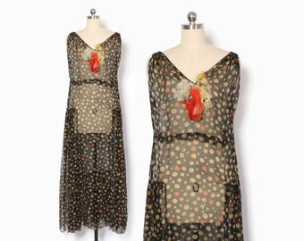 Vintage 20s Sheer Floral DRESS / 1920s Black & Dustry Red Floral Print Silk Crepe Chiffon Long Dress S