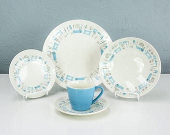 Vintage Blue Heaven by Royal China Dinnerware Set, Teacup and Saucer