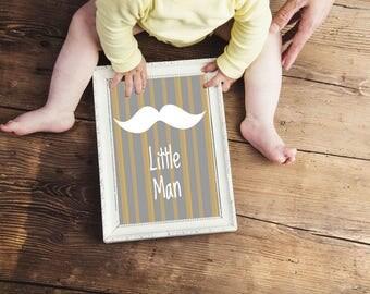 Little Man Mustache 8x10 Nursery Art Print