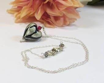 Venetian Murano Glass Heart Necklace, Black Silver Heart Necklace w Swarovski Crystal & 925 Sterling Silver, Pretty Murano Heart Necklace