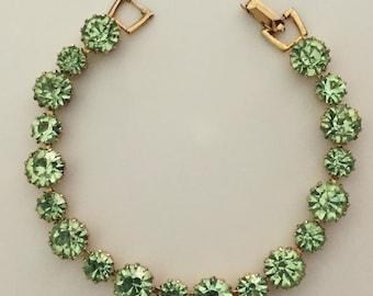 1950s Green Weiss Rhinestone Bracelet
