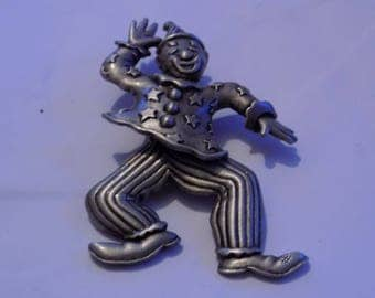 "Vintage brooch, signed ""JJ"" articulated clown brooch, figural pewter brooch, vintage jewelry, Jonette jewelry"