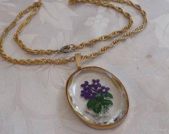 Vintage pendant, purple violet intaglio glass pendant, retro pendant, faceted crystal pendant, retro jewelry