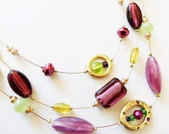 "Chico's Multi Strand Necklace, Floating Purple, Green Glass, Hammered Gold Ovals 19"" Vintage"