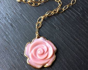 Pink carved shell rose necklace