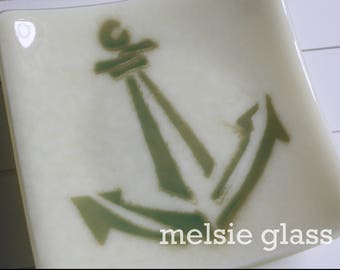 Aqua Anchor small glass plate, opaque cream glass, nautical, boat, yacht, boaters