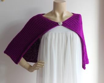 Neon Purple Capelet / Wedding Wrap Shrug Bolero/Hand Knit Acrylic scarf -vegan scarf-Everyday Cape-Ready to Ship