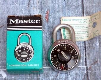 Combination Lock with Box * Master Lock 1500 * Vintage School Locker Lock