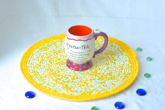"Yellow Place Mat, Handmade Yellow Floral Trivet, 14"" Summer Quilted Trivet, Lemon Yellow Hot pad, Hostess Gift,  Coiled Potholder"