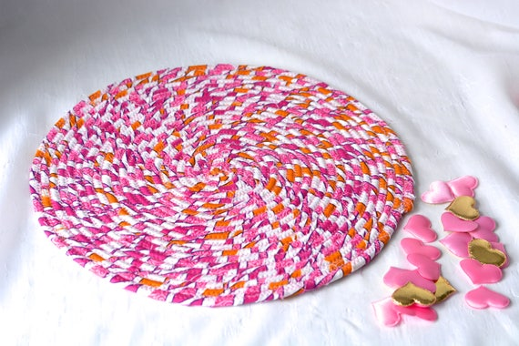 """Swirl Place Mat, 12"""" Handmade Artisan Hot Pad, Easter Table Mat, Pink Potholder, Place Mat, Quilted Table Topper, Magenta Pink Trivet"""