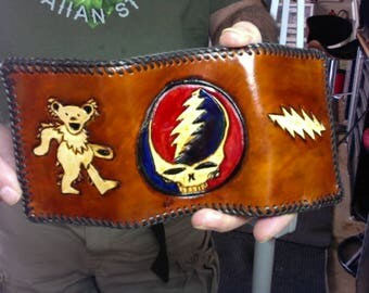 Wallet / Trifold / Men / Grateful Dead / Hand Carved and Tooled / Hand Crafted / Custom / Leather Trifold Wallet /  Mans / Dead Head / Mens