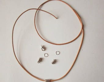 Kit creation cord round natural genuine leather 1.5 mm