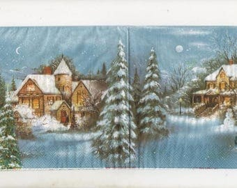 3203 - Set of 5 napkins snowy village