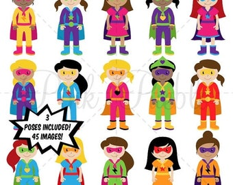 BACK TO SCHOOL Sale Girl Superheroes Clipart Clip Art, Superhero Girls Clip Art Clipart Vectors - Commercial and Personal Use