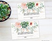 Diaper Raffle Card in Sweet Floral Succulent Theme, Diaper Raffle Card for Baby Shower for Instant Download, Print Your Own