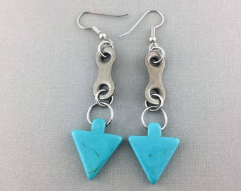 Arrow bicycle earrings, stone bike earrings, blue green cycling accessories, fixie gift, bmx accessory, road bike jewelry, bicycle gifts