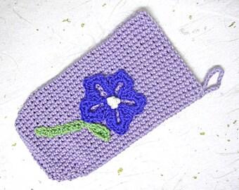 Crocheted lavender phone case