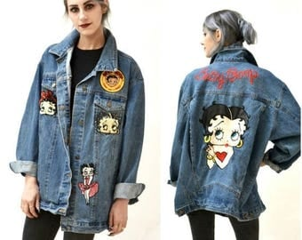 SALE Vintage Denim Jacket with Betty Boop Jacket Oversized Sequin Jacket// 90s 80s Denim Patch Jacket Betty Boop Large XL American Toons