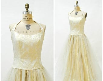 SALE 90s Vintage Gold Metallic Dress Ball Gown Size Large XL 90s Prom Dress Wedding Dress Gold Metallic Crinoline skirt Princess Dress