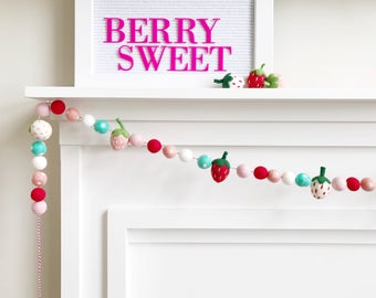 Strawberry Themed Felt Ball Garland, Bunting, Banner - White, Pink, Aqua, and Red