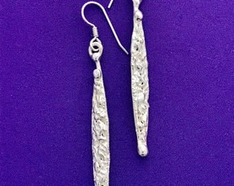 Handcrafted  Dangle Earrings - Long and Skinny Silver Earrings - Slender Silver Earrings - Textured Long Earrings - Ling Dangle