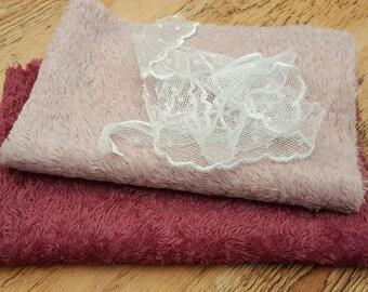 2x a 1/16 metre Hand Dyed Viscose Plus lace ribbon