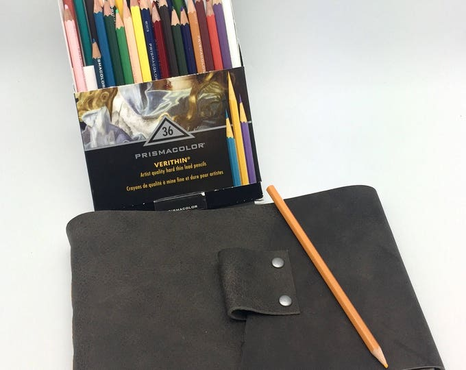 Rustic Gray Leather Art Journal - In Stock