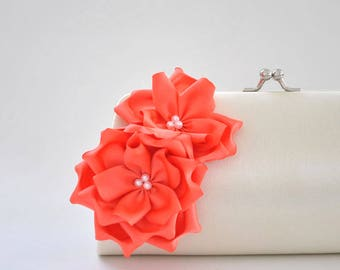 Ivory - Living Coral - Bridal clutch / Bridesmaid clutch / Wedding clutch / Custom clutch