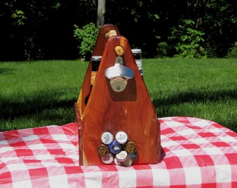 Beer tote, caddy, Summer birthday gift idea, bottle opener, magnetic bottle cap catcher, one-of-a-kind just for him dad brother boyfriend