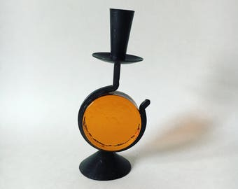Bo Svensk midcentury vintage metal and amber glass candle holder single taper