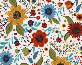 WOODLAND DAISY Meadow, Into the Woods, Woodland Fabric, Floral, Michael Miller, Woodland Baby Quilt, Quilt Fabric, Cotton Fabric By the Yard