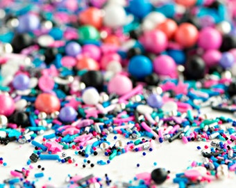 BEWITCH Twinkle Sprinkle Medley, Halloween Sprinkles, Witchy, Silver and Pink, Metallic