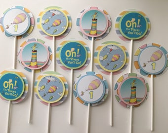 OH, THE PLACES You'll Go! Cupcake Toppers for Birthday Party - Set of 12
