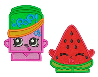 Soda and Watermelon - Machine Filled Embroidery - 2 Patterns in 3 Sizes - Instant Digital