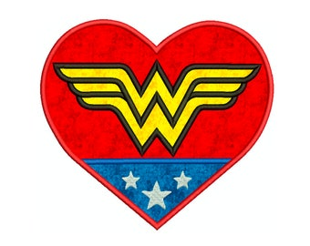Wonder Woman HEART Superhero, wonderwoman - Machine Applique Embroidery - Instant Digital Download