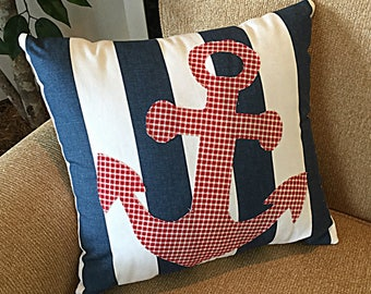 Anchor Pillow, Nautical Pillow, Nautical Stripe Pillow, Nautical Anchor Pillow, Nautical Decor, Anchor Decoration, Red White Blue Pillow