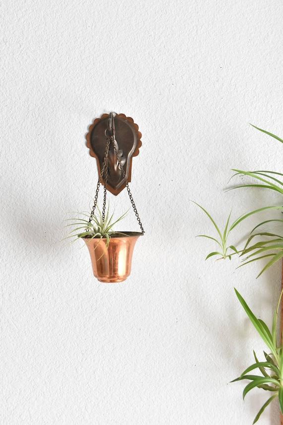 vintage wall hanging copper planter / flower pot