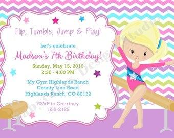 gymnastics birthday invitation gymnastics invitation gymnastics birthday party gymnastics party invitation invite printable choose your girl - Gymnastics Birthday Party Invitations