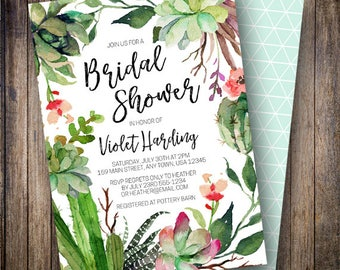 Cactus Bridal Shower Invitation, Rustic, Fiesta Bridal, Watercolor Flowers, Boho Wedding Shower, Succulents, Green, Coral, Pink, 908