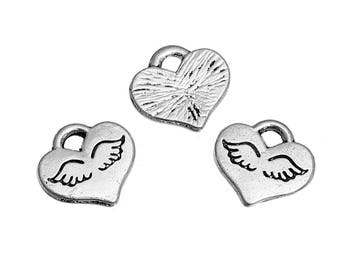 Heart Charms Angel Wing Charms Heart with Wings Silver Heart Charms Silver Wing Charms Angel Charms Heaven Charms 4 pieces