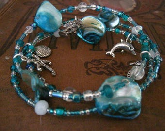 Turquoise Beach Summer Wrapped Memory Wire Bracelet