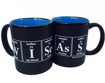 WISE ASS Periodic Table Coffee Mug by Periodically Inspired - Coffee Cup For Science Lover - Matte black with sky blue interior
