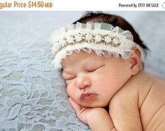 12% off newborn headband, adult headband, child headband and photography prop Single Sprinkled Victorian trim headband