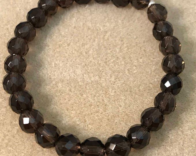 Smoky Quartz Bracelet, Smoky Quartz, Stretch Bracelet, 8mm Faceted Bead Bracelet, Genstone Bracelet, Yoga Bracelet, Meditation Bracelet