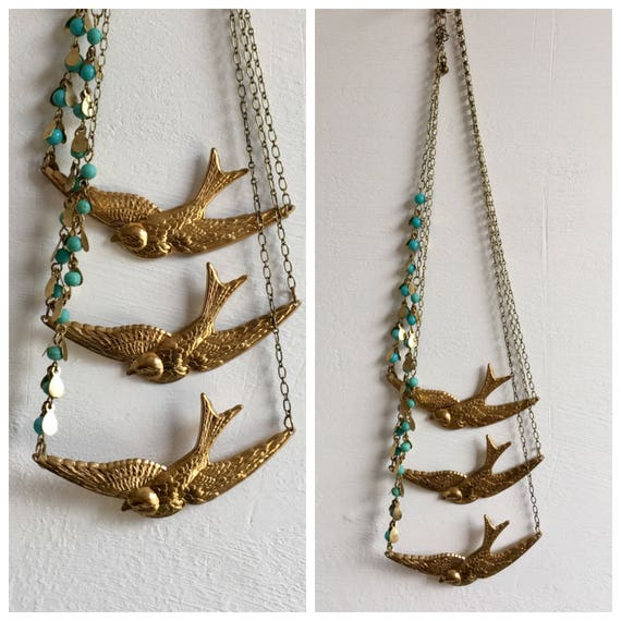 Three Swallows Brass Necklace
